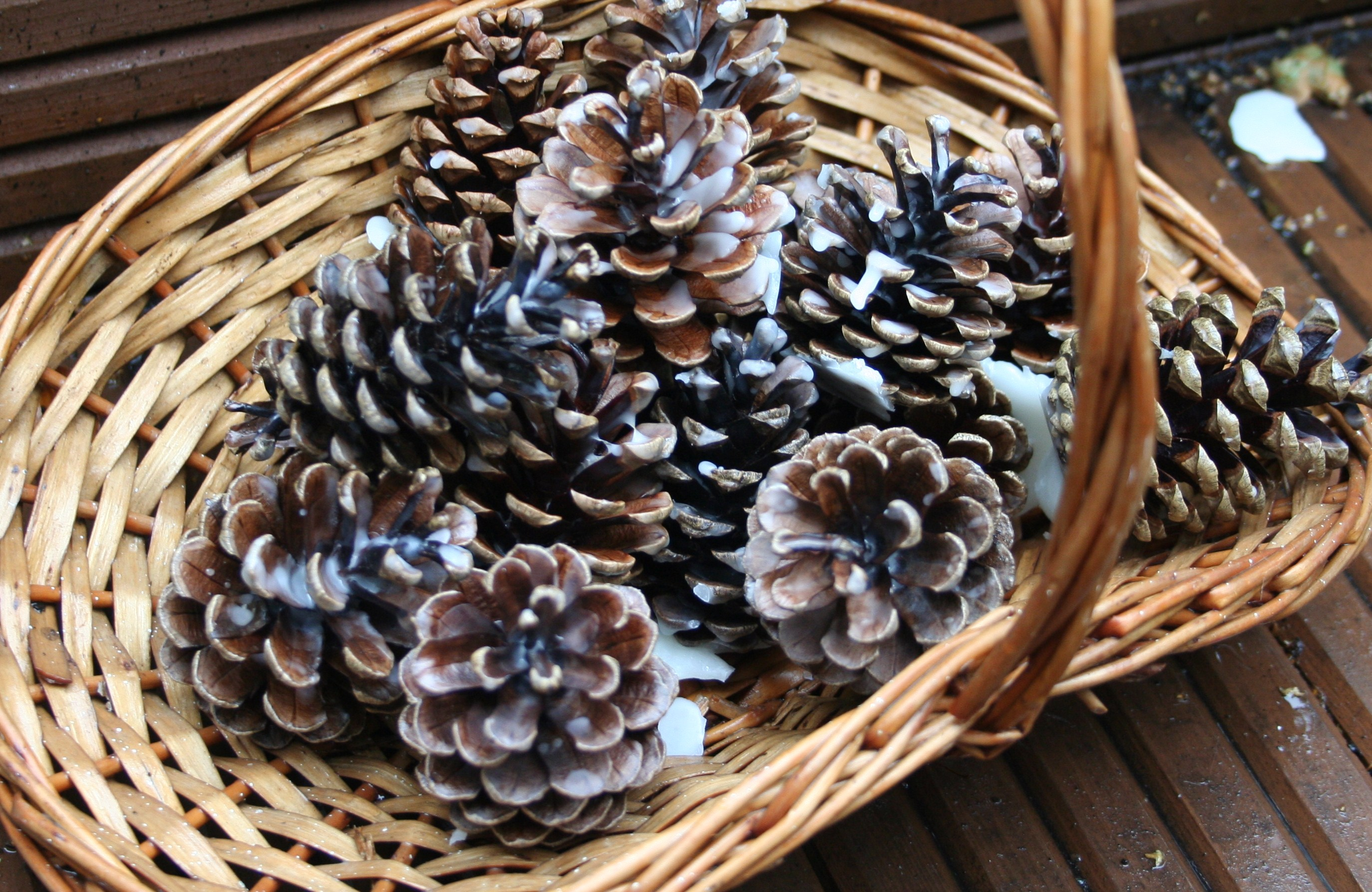 basket of pinecone firelighters