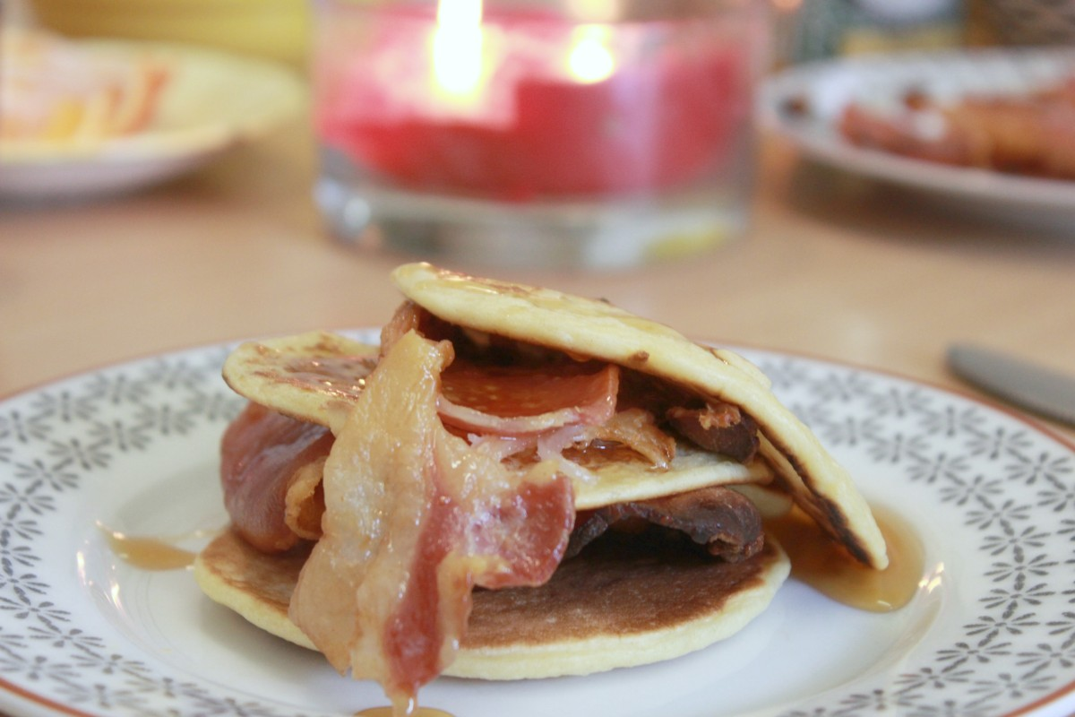 pancakes, bacon and maple syrup