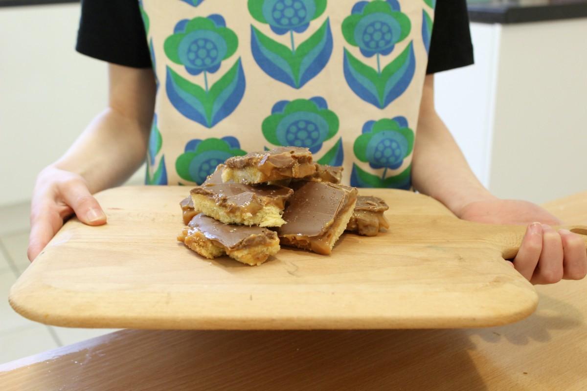 salted caramel shortbread with schwartz
