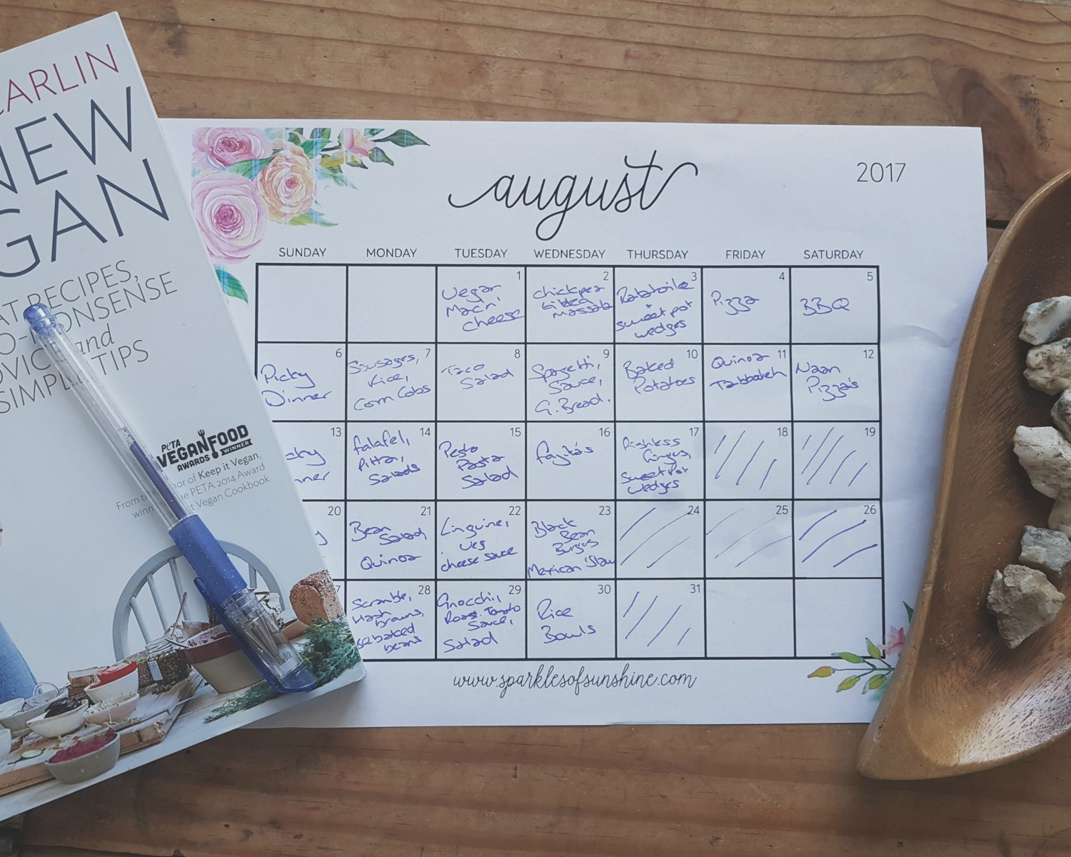 A family meal plan for August