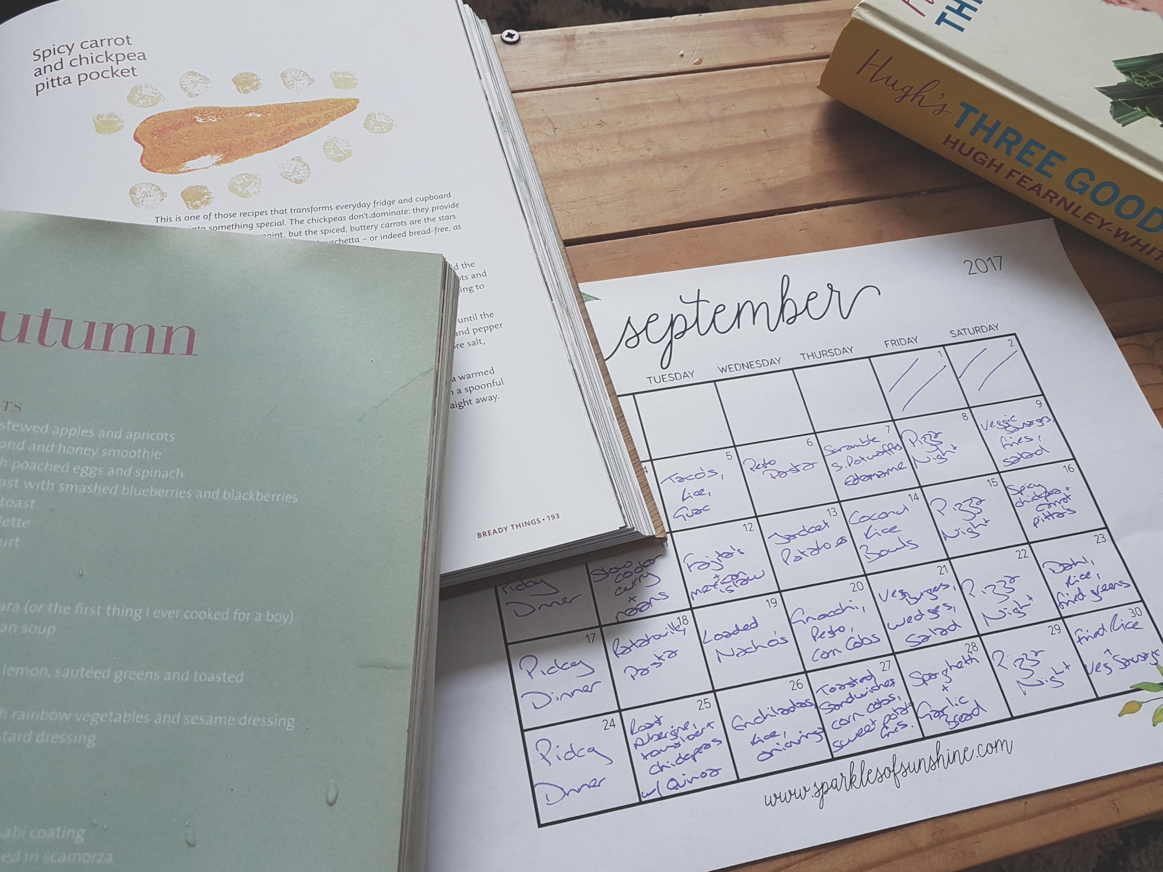A family meal plan for september