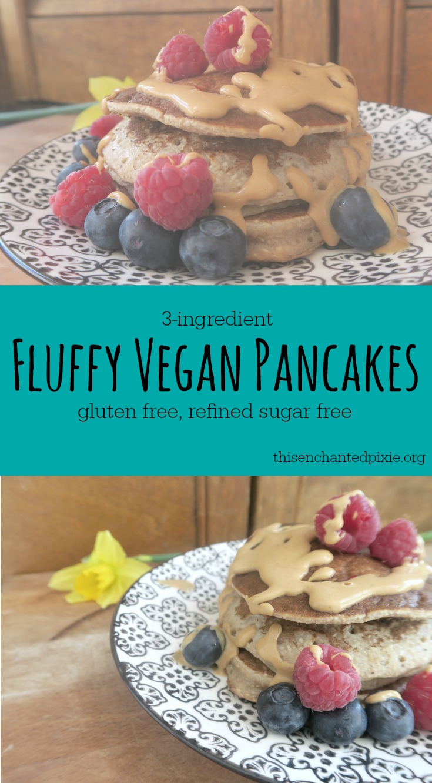 LIght & Fluffy, 3-ingredient vegan pancakes