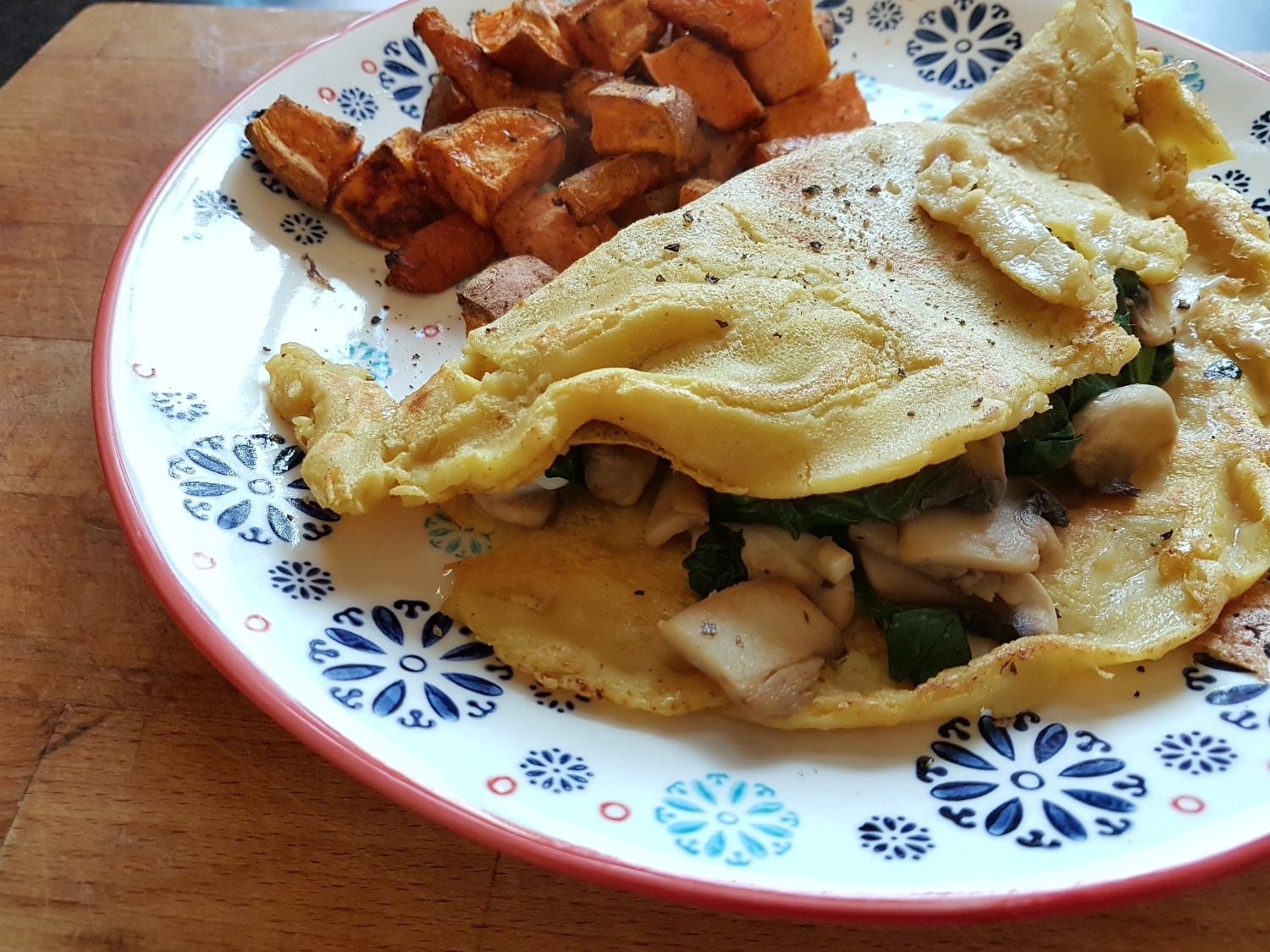 chickpea-crepe-with-garlic-mushrooms-and-spinach